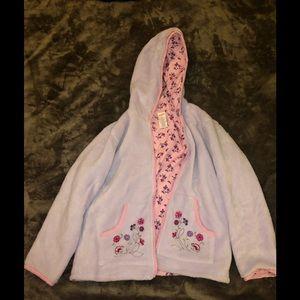 Gymboree fleece hooded lilac sweater shirt size 8